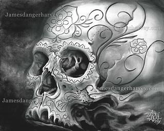 carved skull grey by James Danger Harvey