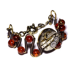Steampunk Jewelry - Copper - Bracelet with Amber and antique watch movement (Catherinette Rings Steampunk) Tags: fashion stone amber movement wire natural watch jewelry jewellery bracelet etsy clockwork deviantart steampunk