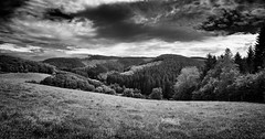 Sauerland Hills (chmeermann) Tags: wood trees sky bw clouds germany landscape deutschland blackwhite nikon forrest himmel hills sw nikkor schwarzweiss wald bume woken sauerland 18135 scened d80