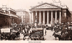London - Royal Exchange Prior to 1914 (pepandtim) Tags: road old england london james early andrews postcard royal nostalgia nostalgic maud 1914 wimbledon exchange ashcombe 87lre45