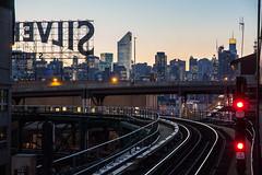 Silver Line (grapfapan) Tags: nyc skyline skyscraper canon subway eos trafficlight tracks queens longislandcity 650d