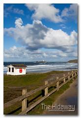 Gwithian (Simon Bone Photography) Tags: sea seascape beach clouds fence coast sand cornwall cliffs coastal coastline posts godrevy gwithian beachscape hff lifeguardhut wwwthehidawaycouk canonef1740mmlf4 canoneos5dmkii happyfencefriday