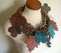 Tweedy Sienna Leaf Scarf with Embroidered Leaves of Copper, Rust, and Teal (Betsie Withey) Tags: art nature scarf leaf knitting embroidery teal inspired sienna textile copper etsy wearable autumnal artwear fiberartscarf