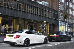 Same but Different. (Alex Penfold) Tags: street white black london mercedes benz mac knightsbridge series coy amg merc c1 sloane 965 c63 c1coy 965mac