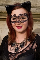 7D0035e Lovely pic of  Grandaughter  in Leather basque & face mask 1 - Whitby Goth Weekend 3rd Nov 2012 (gemini2546) Tags: nov black goth grand week 3rd red 2470  canon sigma leather hair face 7d lens lovely top basque mask daughter lace necklace whitby 2012 horns
