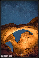 Double Trouble (Aaron M Photo) Tags: longexposure trip vacation southwest nature beautiful beauty rock night landscape utah nationalpark nikon sandstone nightscape desert parks arches nighttime land moab archesnationalpark 2012 d800 rockformation doublearch earthandspace nikond800 aaronmeyersphotography competition:astrophoto=2013