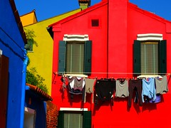 Burano multicolored facades (Marite2007) Tags: blue red italy colors yellow facade island colours vibrant vivid laundry hanging clotheslines multicolored burano veneto bestcapturesaoi