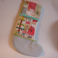 Christmas stocking Lia1 (Roxy Creations) Tags: santa christmas reindeer snowman handmade embroidery sewing decoration gingerbread christmastree holly elf ornament gift owl christmasstocking handembroidered santasack