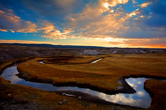 Meander in Color (stevenbulman44) Tags: blue autumn sky cloud holiday color reflection fall canon river landscape nationalpark tripod lee yellowstone wyoming ndf flickrdiamond 1740f40l stunningskies