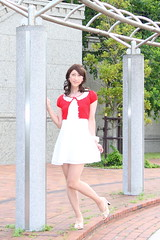 day239-07 red mini cardigan & white race onepiece (Yumiko Misaki) Tags: red white race mini crossdressing transgender transvestite crossdresser cardigan day232 day238 day239 transsexsual lodispotto opepiece