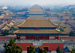 Forbidden City, Beijing, China (Eric Lafforgue) Tags: china door travel roof red color colour history horizontal skyline architecture composition outside photography pagoda asia day cityscape image outdoor dusk beijing nobody nopeople panoramic reddoor unesco forbiddencity buildingfront worldheritage eastasia chineseculture pekin capitalcity urbanscene colorimage famousplace buildingfeature northeastchina buildingexterior colorpicture internationallandmark highangleview imagetype hebeiprovince beijingprovince builtstructure mg0527 tiananmengateofheavenlypeace horizonoverlan