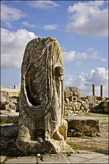 dougga, tunisia ... (ana_lee_smith) Tags: africa city urban sculpture terrain history tourism archaeology stone museum architecture headless landscape temple photography site ancient poem arch village floor theatre roman tunisia plateau mosaic decorative stage capital north pillar masonry halls photojournalism unesco capitol national latin corinthian civilization column jupiter plains antonio minerva mythology pediment byzantine emperor juno colonnade settlement bardo ozymandias polis excavation insitu fertile dougga pius dionysus epigraphy olivegroves publicbaths namidian analeesmith thougga sonyslta33 shelleytravel antonianbath licinianbath ouedkhalled douggaaljadida ulyssesthesirens nouvelledougga