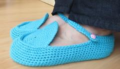 Blue House Slippers (SammyHK) Tags: crochetslippers