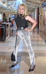 Gone shopping! (Irene Nyman) Tags: trip black dutch silver shopping store pants tgirl heels irene sparkly handbag crossdresser sequined nyman