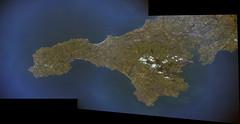 Lands End (sjrankin) Tags: 18august2016 edited panorama nasa iss iss048 iss047e145847 iss047e145849 england uk unitedkingdom landsend englishchannel atlanticocean