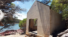 Bittangabee Bay ruins 14 (PhillMono) Tags: olympus e30 dslr australia new south wales history heritage ruin relic abandoned empty emptiness bittangabee bay storehouse house shed ben boyd national park eden photomerge panorama