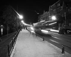 Night bus (Ren-s) Tags: blackandwhite noiretblanc bus speed vitesse road route street rue trottoire pavement sidewalk light lumire nuit night bruxelles brussels belgique belgium europe rail flares