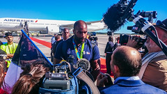 Teddy Riner, Olympic Gold Medal in judo, is back home from Rio 2016 (Dominique ALLAIN) Tags: goldmedal mdailledor teddyriner cdg paris france judo olympicgames riodejaneiro rio2016 airfrance interview champion press tv