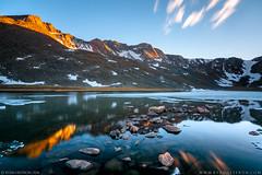 Summit Lake Sunset (ryheffron) Tags: sunset mountains mountain lake alpine ice summitlake summit mtevans colorado rockymountains reflection