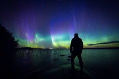 Aurora selfie (L.Matero) Tags: lievestuorerevontulet lights aurora borealis nightshot night photography canon 6d samyang 14mm f28 lievestuore finland lake trees rock chaser awesome nature suomi northern sky colorful