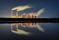 clouds factory (jkatanowski) Tags: poland powerstation mirror chimney outdoor water night industry