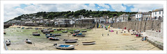 Mousehole harbour at low tide, panorama (Christa (ch-cnb)) Tags: mousehole mounts bay penzance newlyn cornwall england uk harbour low tide fishing boats beach sand surfboard bodyboard bathing olympus omd em5mkii microfourthirds zuiko mzd1240mm pro panorama pano
