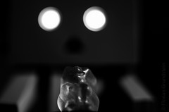 run away, little gummy bear! - Happy Macro Monday - Sweet Spot Squared (Florian Grundstein) Tags: macro details gummybear danbo danboard closeup lighted eyes dark darkness soul look closer macromonday hmm grundstein florian nikon d5100 sigma 105mm os mondays spot sweet