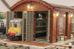 PKP ST43-417 - standing in the shed with failed IR receiver (Maciej Drwiga) Tags: st43 pkp lego train station engine shed