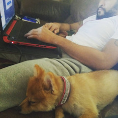 I am so thankful I get to sit at home with the pup and BF! ... (christinaspohr) Tags: i am thankful get sit home with pup bf