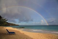 Grenada Rainbow (Heaven`s Gate (John)) Tags: sea seascape storm beach rain landscape rainbow sand calm grenada caribbean stgeorge 50faves 10faves grandansebeach 25faves johndalkin heavensgatejohn spiceislandbeachresort