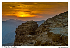 Martian Landscape (Ilan Shacham) Tags: cliff yellow clouds landscape israel rocks view desert scenic crater layers negev ramon machteshramon makhteshramon