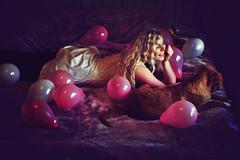 Birthday Girl (Lotte Hansen) Tags: birthday dog inspiration selfportrait art girl beauty fashion fairytale canon hair balloons photography bedroom dress arts missaniela lottehansen brookeshaden