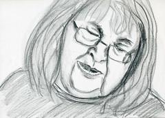 Judy (Gila Mosaics n'stuff) Tags: portrait art female pencil glasses sketch artist meetup portraitparty jkpp jkpp2012