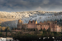 Winter Sunset at Schloss Heidelberg (Russ Beinder) Tags: winter sunset snow cold castle fall germany de heidelberg schloss deutsche 85mmf14