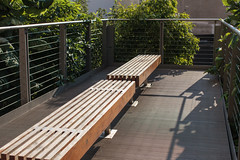 NYC -3631 (Jacobo Zanella) Tags: newyorkcity nyc nuevayork usa septiembre travel summer park city urban ny canon5d 2012 jacobozanella empty bench wooden high line bay platform metal trees surrounded space bright light shadows placed jz76