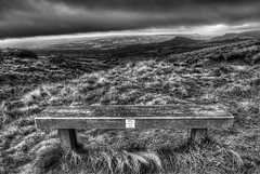 Peak District (Raven Photography by Jenna Goodwin) Tags: trees sky bw white jenna black tree pool monochrome beautiful grass stone wall clouds writing silver bench landscape photography inn buxton colours district derbyshire sony peak dry mermaid alpha a200 raven depth hdr inscription goodwin efex