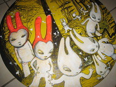 Forêt (mc1984) Tags: white rabbit yellow painting circle google flickr invasion lapin blck mc1984 aleister236