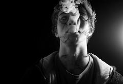 Broken Smoker. (Luke-Johnston) Tags: china lighting light portrait bw white black broken face canon studio lights swan break emotion cigarette edited smoke fake smoking cracks cigarettes delicate emotions edit 1000d