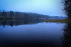 A misty day (Janneaa) Tags: blue autumn trees mist lake reflection fall nature water fog forest finland pond