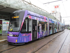 2554 VarioBahn Croydon Tramlink tram at east Croydon Tram-train interchange 24-11-2012