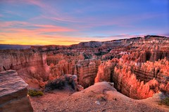Sunset Point Sunrise (Adam's Attempt (at a good photo)) Tags: park pink blue trees red sky orange color tree colors yellow sunrise utah nationalpark nikon colorful bluesky erosion bryce redrock brycecanyon pinetrees hdr hoodoos pinkclouds sunsetpoint lr3 brycecanyonnationalpark brycenationalpark d90 photomatix thanksgiving2012 sunsetpointsunrise