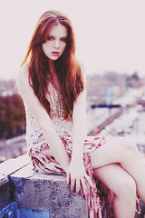 Siren (Saint Courtney) Tags: city roof red woman beach girl beauty fashion skyline hair photography model garage parking indiana bloomington boho siren beachy