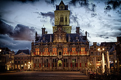 City Hall for Ct. Dracula (Wameq R) Tags: old light music building castle netherlands leaves architecture night clouds hair afternoon dusk delft nightshots crate hdr me2youphotographylevel1