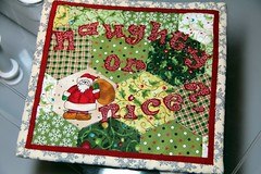 Scrappy Mug Rug~Holiday (Karen@Laughter in Quilts) Tags: holiday hexagon applique mugrug