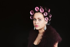 (srs~) Tags: pink green girl beautiful make up vintage hair fur photography model eyes eyelashes skin gorgeous diamond audrey uo earrings lipstick rollers hepburn curlers flawless