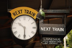 Next train... (smurfie_77) Tags: clock train lakeside historic steamtrain 1030 belgrave puffingbilly nexttrain