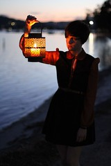 Search (kaitlynslocombe) Tags: ocean sunset sea portrait beach water girl night dark candle waterfront lantern