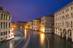Gondola In 60 Seconds Revisited, Venice (flatworldsedge) Tags: longexposure bridge blue venice light sky italy tower night reflections canal twilight wake traffic bend cloudy curves arc grand trail gondola lighttrails curve venezia rialto vaporetto sanbartolomeo ven