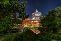 Hidden Temple of Heaven (TheTimeTheSpace) Tags: water night reflections stars lights epcot disney disneyworld wdw waltdisneyworld templeofheaven hdr worldshowcase matthewcooper photmatix reflectionsofchina nikond800 thetimethespace