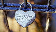 Tag 95 (Gitta Martin) Tags: liebesschloss brcke brggen 41379 sonyalpha57 silbern tom gitta romantik liebe love bridge schlssel castle geschenk lock vorhngeschloss brckengitter lattice paar pair silver gift